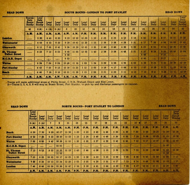L&PS 1939 Time Table Schedule
