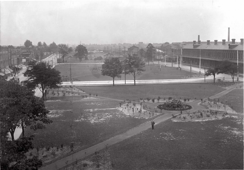 Michigan Central Park looking east from the roof of the YMCA in 1920